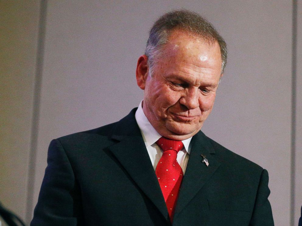 PHOTO: Former Alabama Chief Justice and U.S. Senate candidate Roy Moore pauses at a news conference, Nov. 16, 2017, in Birmingham, Ala.