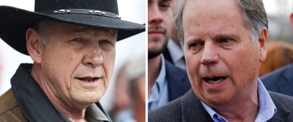 PHOTO: Senatorial candidates Roy Moore and Doug Jones are pictured on Dec. 12, 2017 in Alabama.