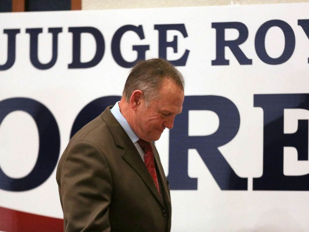 PHOTO: Roy Moore walks off stage at his watch party in Montgomery, Alabama, Dec. 12, 2017.