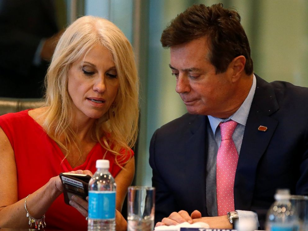 PHOTO: Kellyanne Conway and Paul Manafort speak during a round table discussion on security at Trump Tower in New York, Aug. 17, 2016.