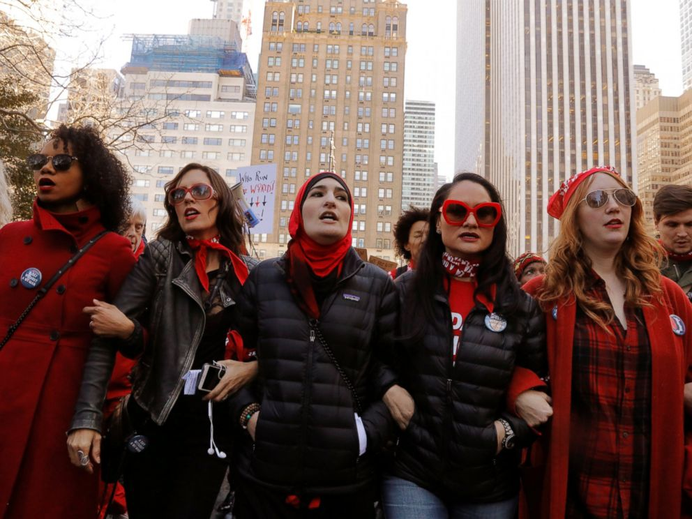 PHOTO: Organizers lead a march during a Day Without a Woman march on International Womens Day in New York, March 8, 2017.