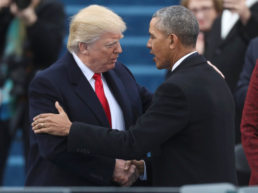 PHOTO: U.S. President-elect Donald Trump greets outgoing President Barack Obama (R) before Trump is inaugurated during ceremonies on the Capitol in Washington, Jan. 20, 2017.