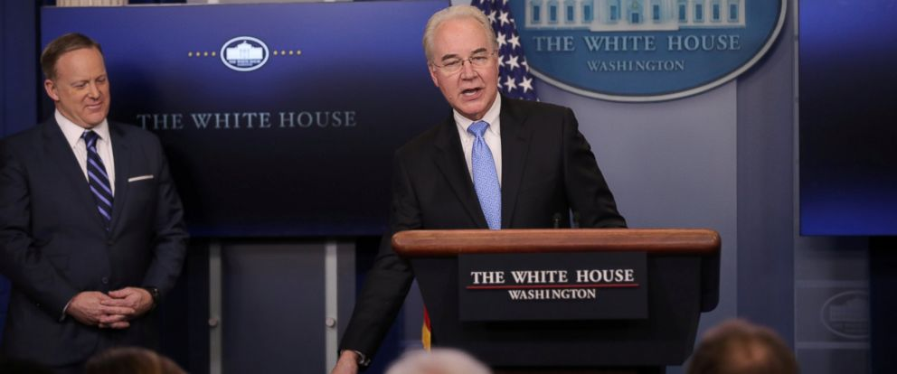 PHOTO: Health and Human Services Secretary Tom Price (R) addresses the daily press briefing as White House Press Secretary Sean Spicer (L) looks on at the White House in Washington, March 7, 2017.