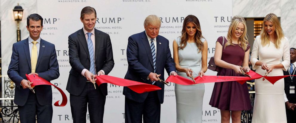 PHOTO: Donald Trump Jr., Eric Trump, Republican presidential nominee Donald Trump, Melania Trump, Tiffany Trump and Ivanka Trump attend an official ribbon cutting ceremony at the new Trump International Hotel in Washington, Oct. 26, 2016.