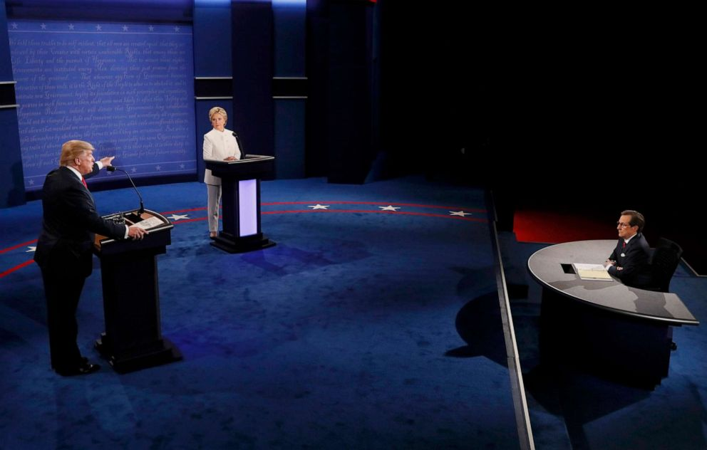 PHOTO: Donald Trump speaks as Hillary Clinton listens during their third and final debate moderated by Chris Wallace at UNLV in Las Vegas, Oct. 19, 2016.