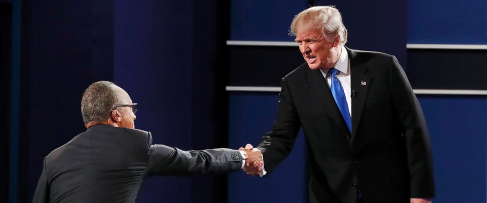 PHOTO: Republican presidential nominee Donald Trump greets moderator Lester Holt prior to the first presidential debate at Hofstra University in Hempstead, New York, Sept. 26, 2016.