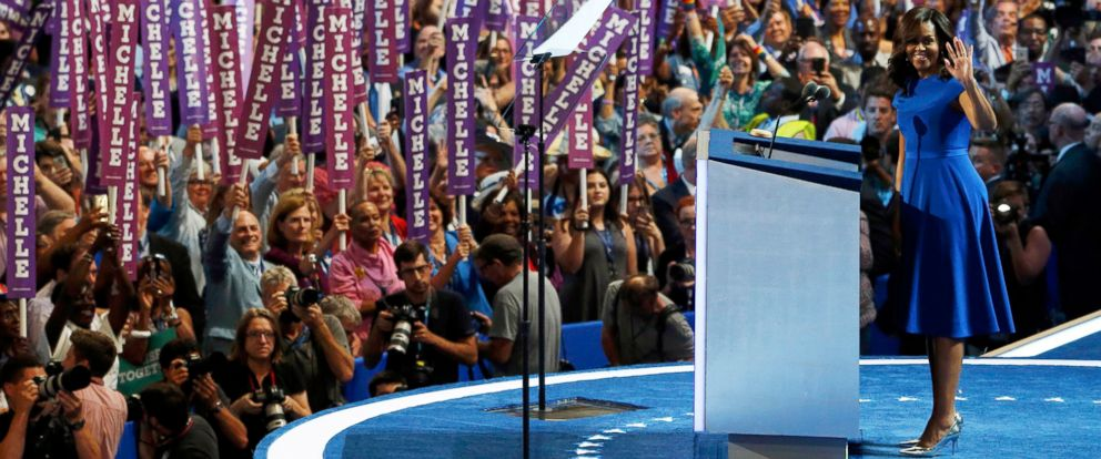 PHOTO: First lady Michelle Obama addresses the Democratic National Convention in Philadelphia, July 25, 2016.