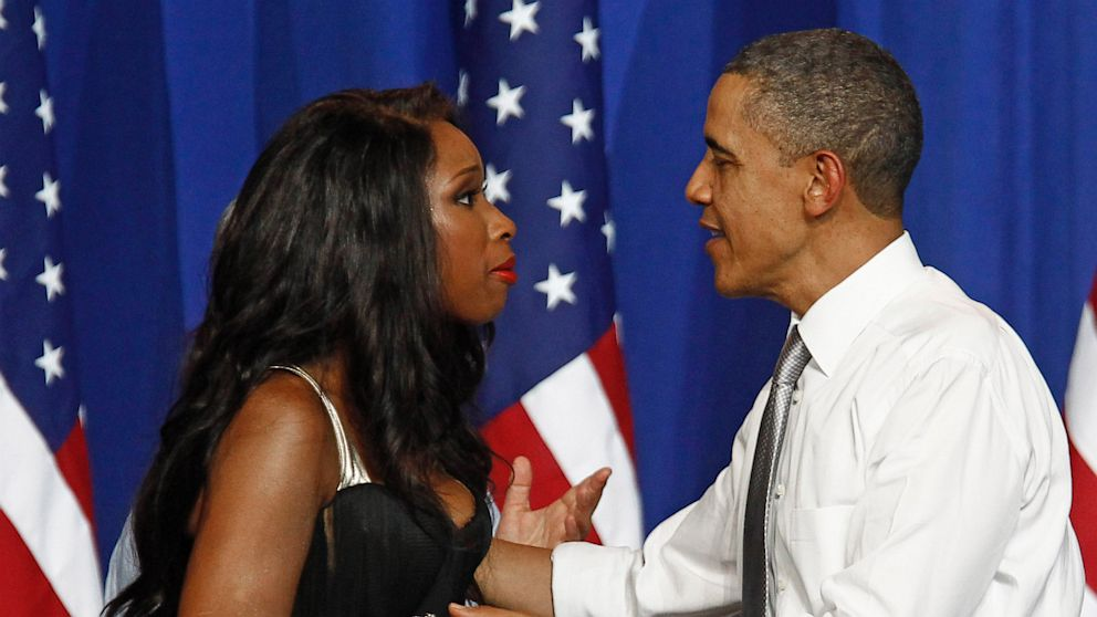 President Obama is greeted by singer Jennifer Hudson at a Democratic National Committee event at the Aragon Entertainment Center in Chicago, in this Aug. 3, 2011, photo.