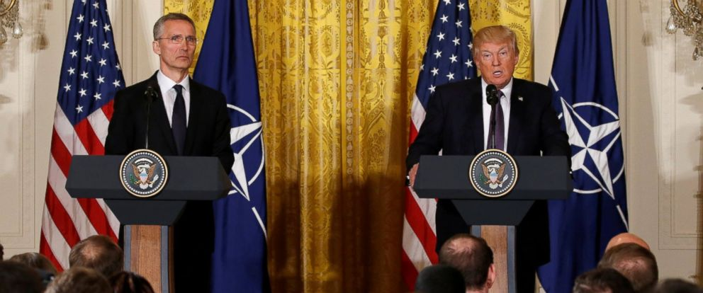 PHOTO: President Donald Trump and NATO Secretary General Jens Stoltenberg hold a joint news conference in the East Room at the White House in Washington, April 12, 2017.