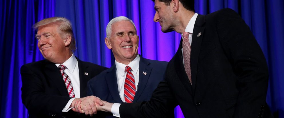 PHOTO: President Donald Trump is greeted by Vice President Mike Pence and House Speaker Paul Ryan as he arrives to speak at a congressional Republican retreat in Philadelphia, Jan. 26, 2017.
