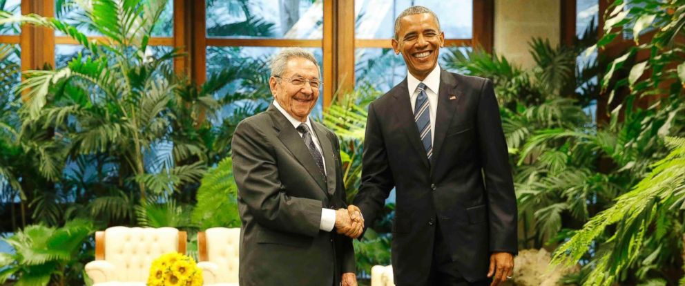 PHOTO: U.S. President Barack Obama and Cubas President Raul Castro shake hands during their first meeting on the second day of Obamas visit to Cuba, in Havana on March 21, 2016.