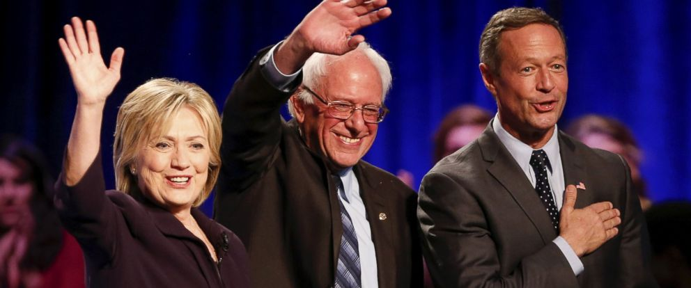 PHOTO: Democratic presidential candidates Hillary Clinton, Bernie Sanders and Martin OMalley wave to the crowd following a debate held at Winthrop University in Rock Hill, S.C., Nov. 6, 2015.