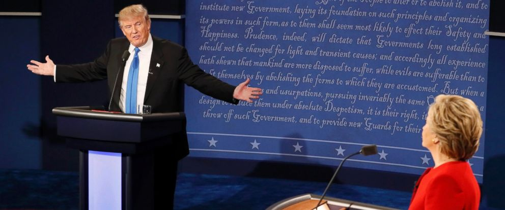 PHOTO: Republican U.S. presidential nominee Donald Trump speaks as Democratic U.S. presidential nominee Hillary Clinton listens during their first presidential debate at Hofstra University in Hempstead, New York, Sept. 26, 2016.