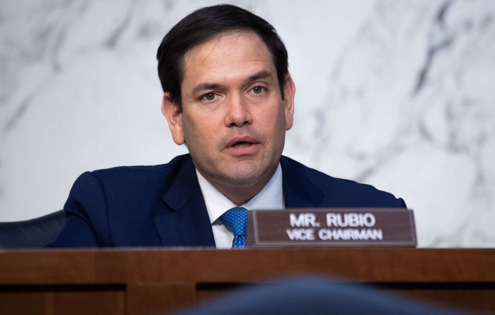 PHOTO: Sen. Marco Rubio speaks at a Senate Select Committee on Intelligence hearing on Capitol Hill on April 14, 2021, in Washington, D.C.