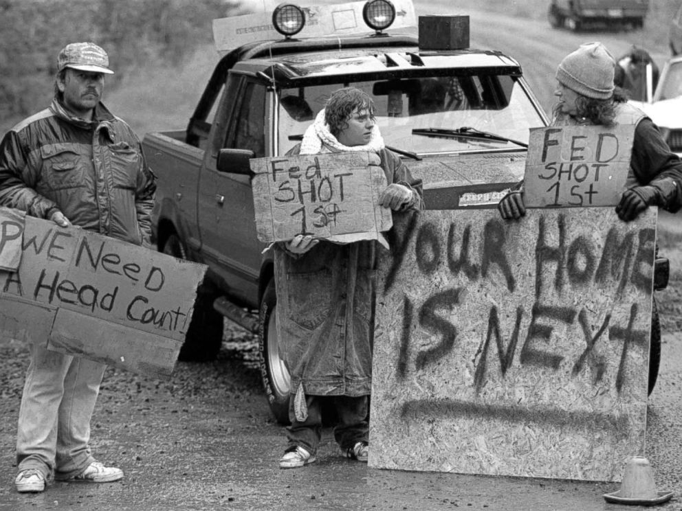 PHOTO: Randy Weaver supporters are pictured at Ruby Ridge in northern Idaho, Aug. 23, 1992.