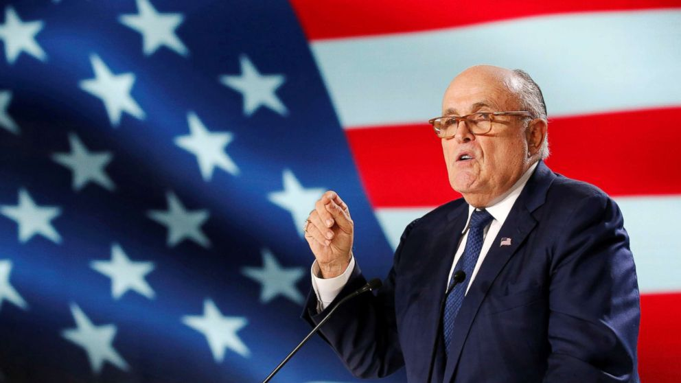 Rudy Giuliani delivers his speech as he attends the National Council of Resistance of Iran (NCRI) meeting in Villepinte, near Paris, France, June 30, 2018.