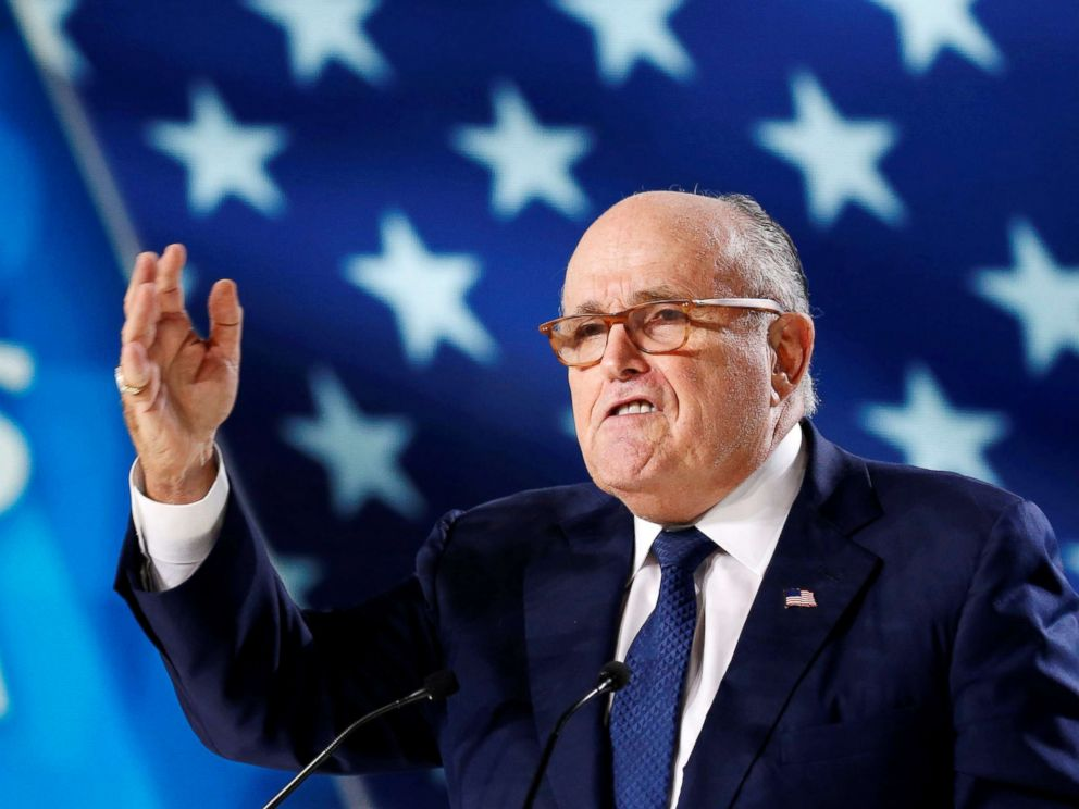 PHOTO: Rudy Giuliani, former Mayor of New York City, delivers a speech as he attends the National Council of Resistance of Iran, meeting in Villepinte, near Paris, France, June 30, 2018.