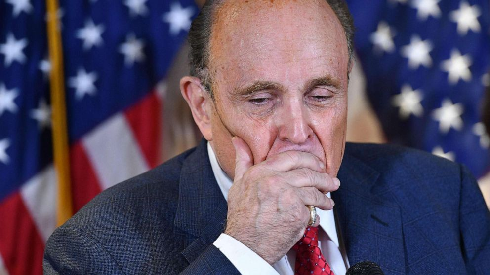 PHOTO: President Donald Trump's personal lawyer, Rudy Giuliani, speaks during a press conference at the Republican National Committee headquarters in Washington, D.C., on Nov. 19, 2020.