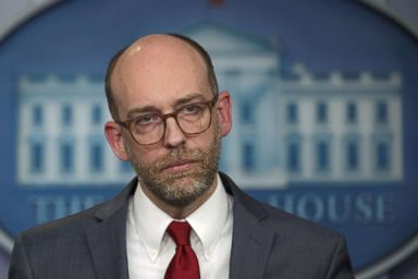 PHOTO: Acting Director of Office of Management and Budget Russell Vought listens during a news briefing at the White House, March 11, 2019, in Washington, DC.