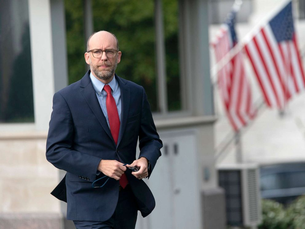 PHOTO: Office of Management and Budget (OMB) Acting Director Russell Vought walks from the White House to participate in a television interview, Oct. 9, 2019.