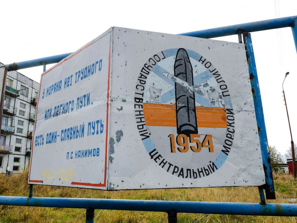 PHOTO: A billboard that reads The State Central Navy Testing Range near residential buildings in the village of Nyonoksa, northwestern Russia, Oct. 7, 2018.