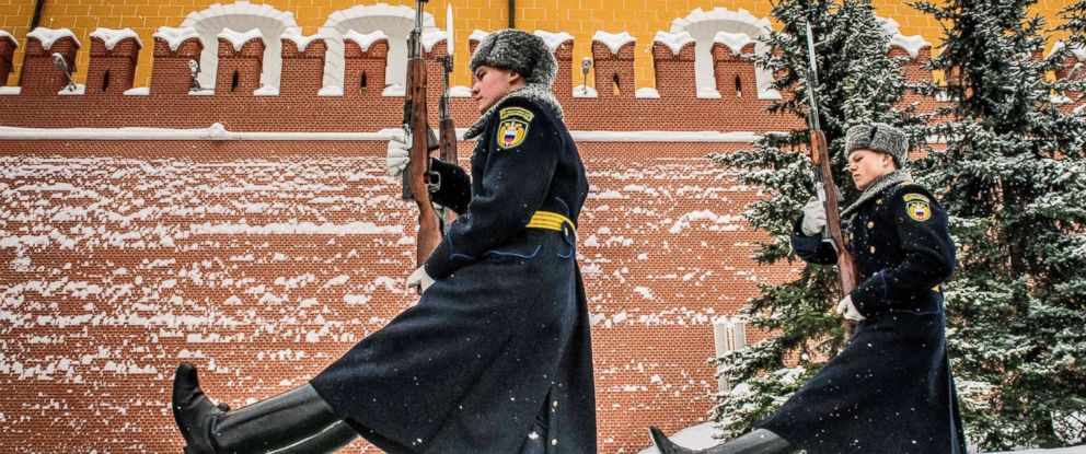PHOTO: Russian honor guards march during the changing of the guards ceremony at the Tomb of the Unknown Soldier by the Kremlin wall in Moscow, March 15, 2018.