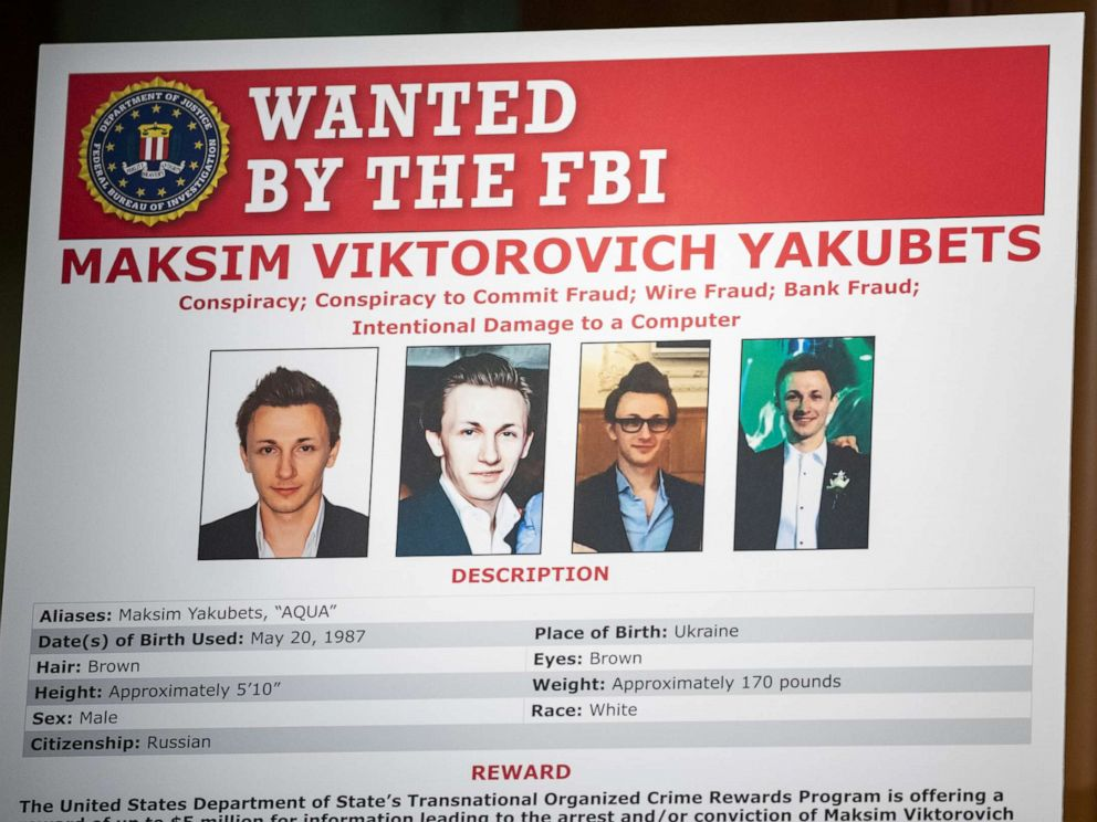 PHOTO: The wanted poster of Maksim Viktorovich Yakubets is displayed at the U.S. Department of Justice on Dec. 5, 2019 in Washington, D.C.