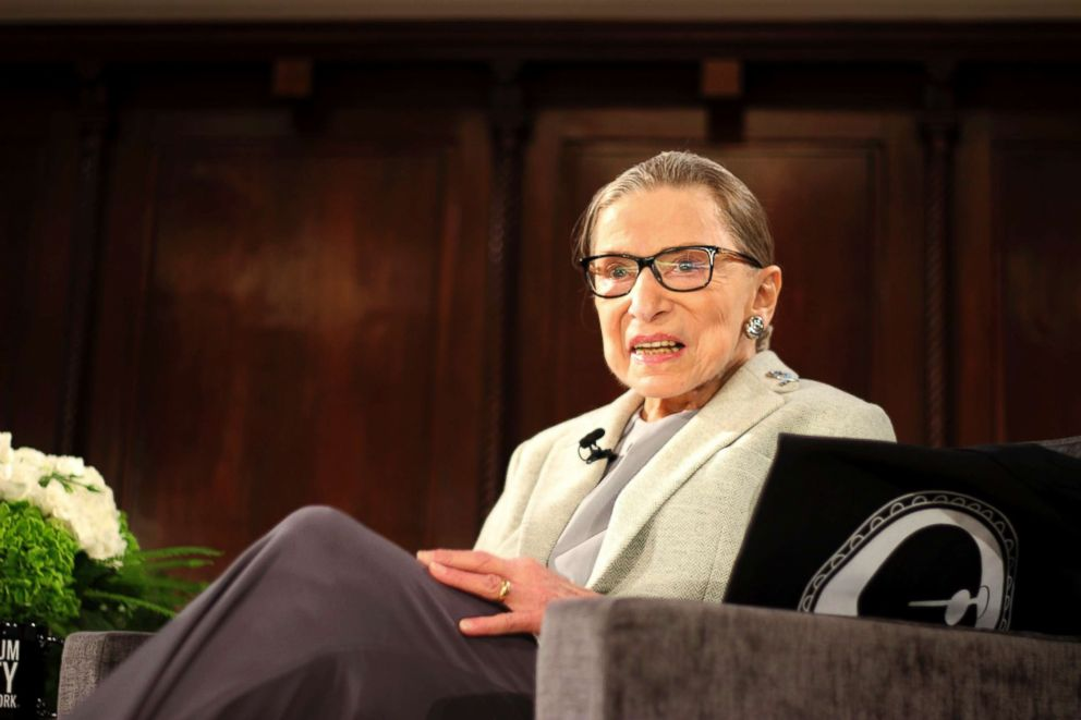PHOTO: Supreme Court Justice Ruth Bader Ginsburg sits onstage as a speaker of the David Berg Distinguished Speakers Series held in New York, Dec. 15, 2018.
