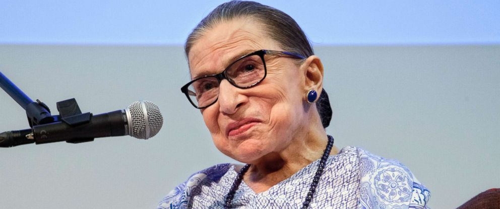 """PHOTO: Supreme Court Justice Ruth Bader Ginsburg speaks after the screening of """"RBG,"""" the documentary about her, in Jerusalem, July 5, 2018."""