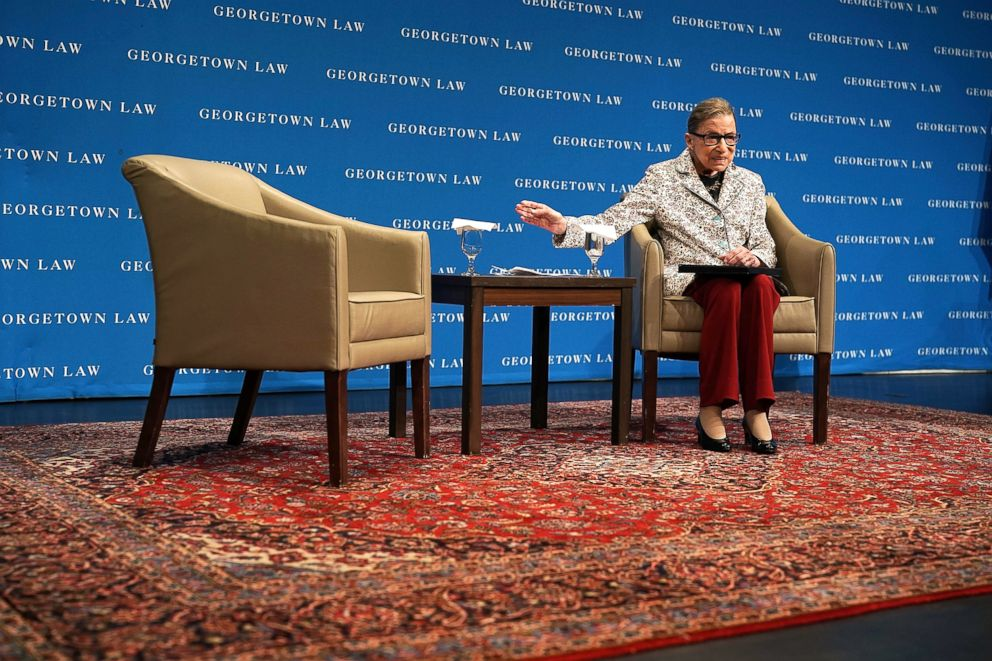 PHOTO: U.S. Supreme Court Justice Ruth Bader Ginsburg participates in a lecture on Sept.26, 2018, at Georgetown University Law Center in Washington, D.C.
