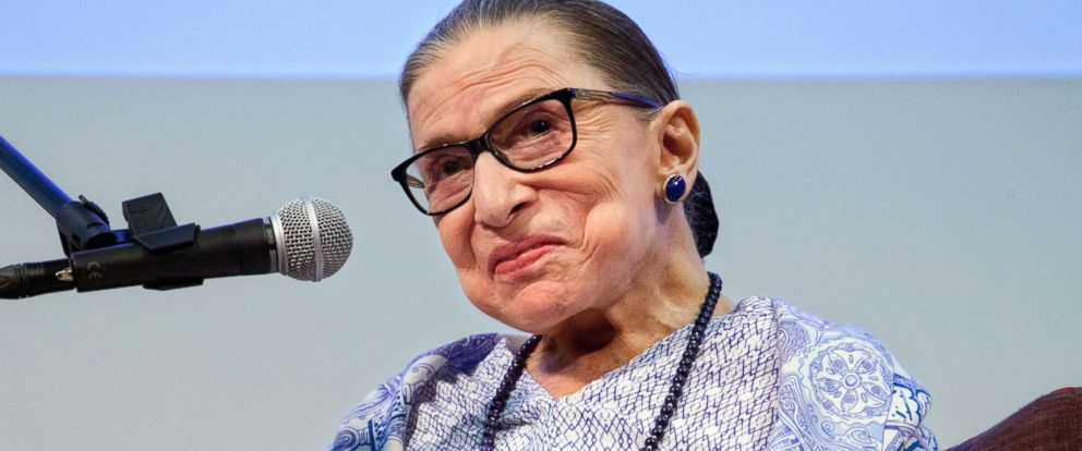 """PHOTO: U.S. Supreme Court Justice Ruth Bader Ginsburg speaks after the screening of """"RBG,"""" the documentary about her, in Jerusalem, July 5, 2018."""