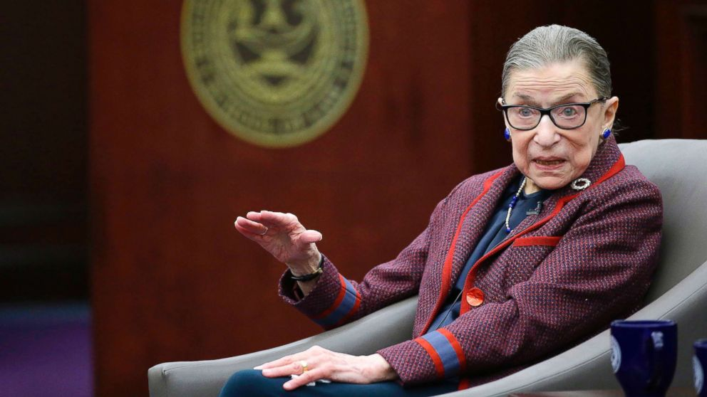 "U.S. Supreme Court Justice Ruth Bader Ginsburg answers a law student's question as she participates in a ""fireside chat"" in the Bruce M. Selya Appellate Courtroom at the Roger William University Law School, Jan. 30, 2018, in Bristol, R.I."