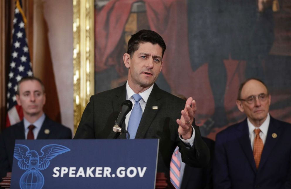 PHOTO: Speaker of the House Paul Ryan, R-Wis., takes questions from reporters about the meetings at the Justice Department about the federal investigation into President Donald Trumps 2016 campaign, on Capitol Hill, May 24, 2018.