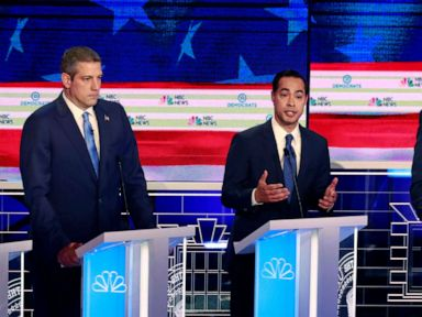 PHOTO: Tim Ryan, Julian Castro and Cory Booker participate in the first Democratic primary debate hosted by NBC News at the Adrienne Arsht Center for the Performing Arts in Miami, Florida, June 26, 2019.