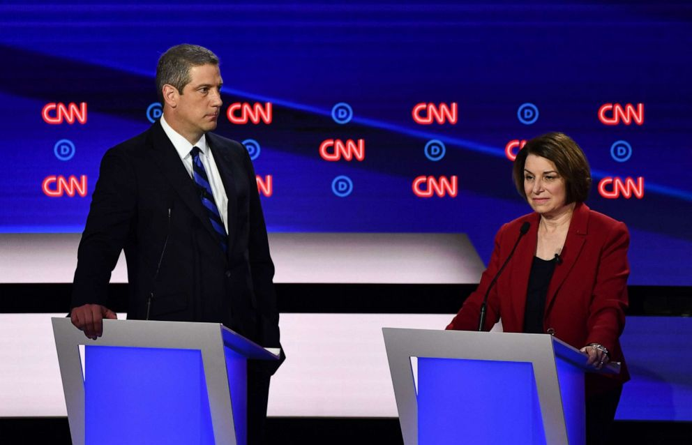PHOTO: Democratic presidential hopefuls Tim Ryan and Amy Klobuchar participate in the first round of the second Democratic primary debate of the 2020 presidential campaign season hosted by CNN at the Fox Theatre in Detroit, July 30, 2019.