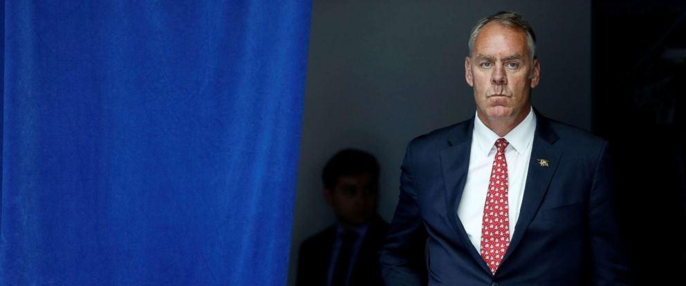 PHOTO: U.S. Interior Secretary Ryan Zinke waits to take the stage with President Donald Trump for his on infrastructure improvements, at the Department of Transportation in Washington, D.C., June 9, 2017.
