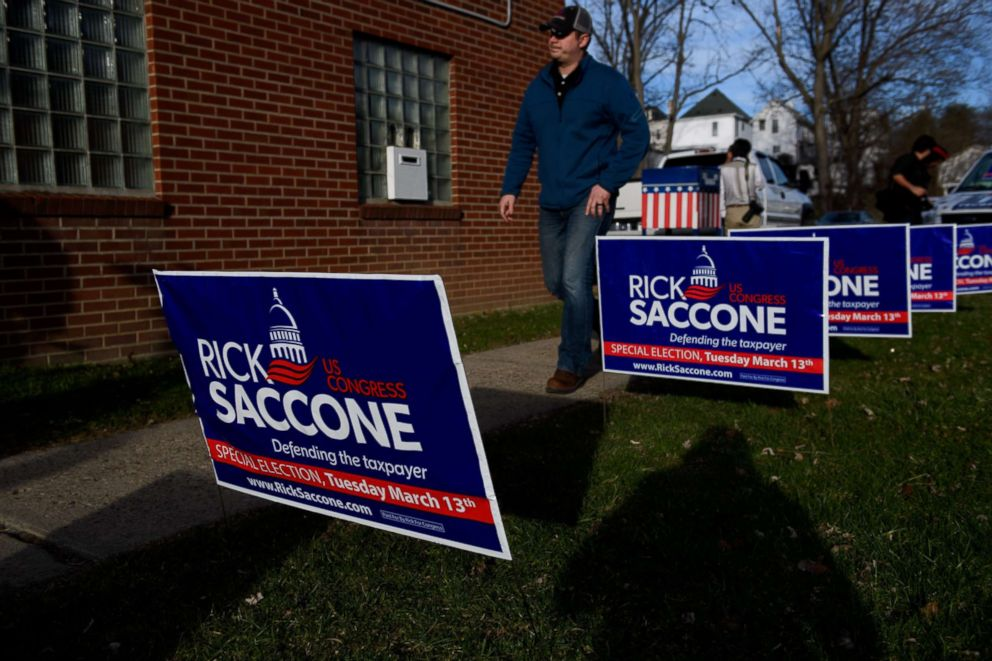 PHOTO: Signage for Republican congressional candidate Rick Saccone, March 5, 2018, in Waynesburg, Pa.