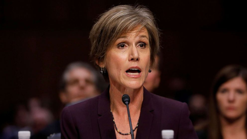 Former Acting Attorney General Sally Yates testifies about potential Russian interference in the presidential election before the Senate Judiciary Committee on Capitol Hill, May 8, 2017.