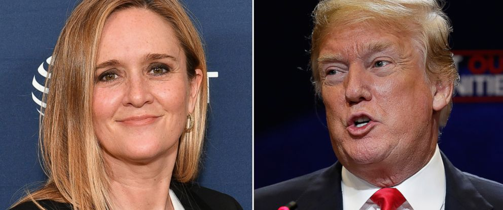 PHOTO: Pictured (L-R) are comedian Samantha Bee in New York City, May 20, 2018 and President Donald Trump in Bethpage, N.Y., May 23, 2018.