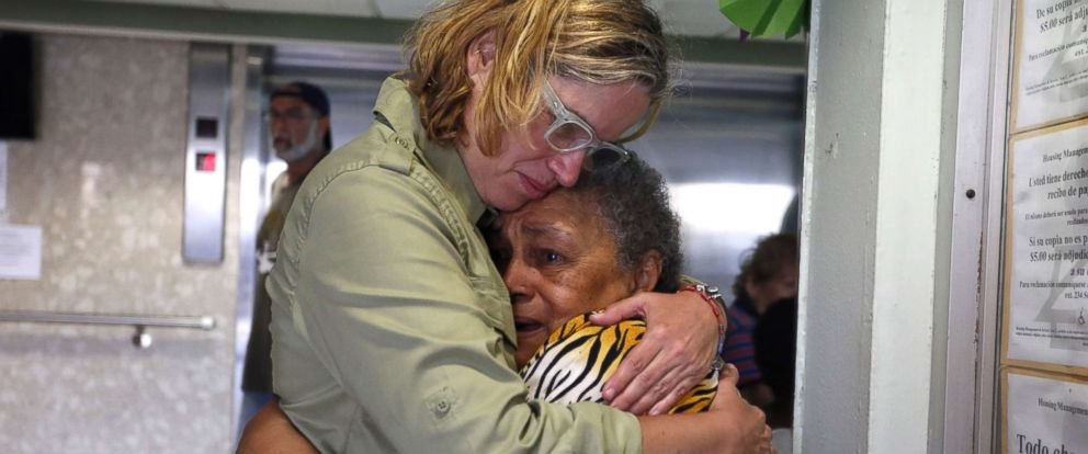 PHOTO: San Juans Mayor Carmen Yulin Cruz, left, hugs a woman during her visit to an elderly home in San Juan, Puerto Rico, Sept. 22, 2017.