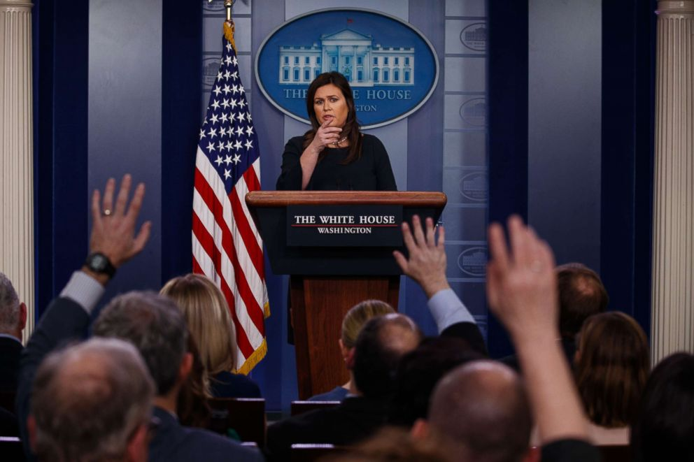 PHOTO: White House press secretary Sarah Sanders speaks during a press briefing at the White House, March 11, 2019.
