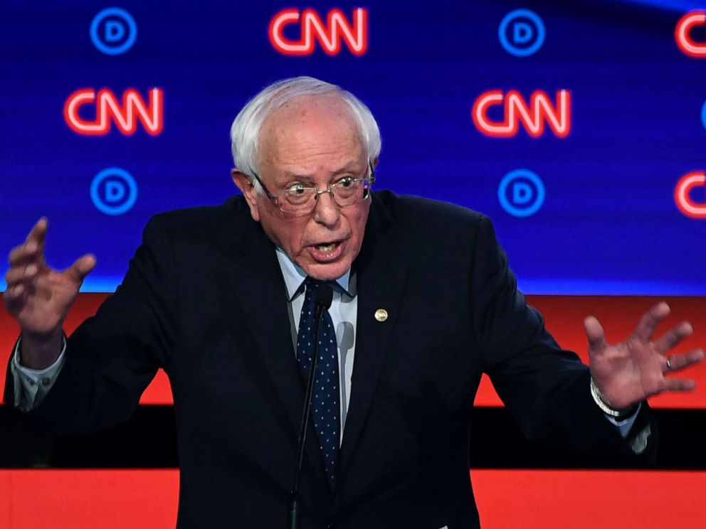 PHOTO: Democratic presidential hopeful Sen. Bernie Sanders gestures as he speaks during the first round of the second Democratic primary debate in Detroit, July 30, 2019.
