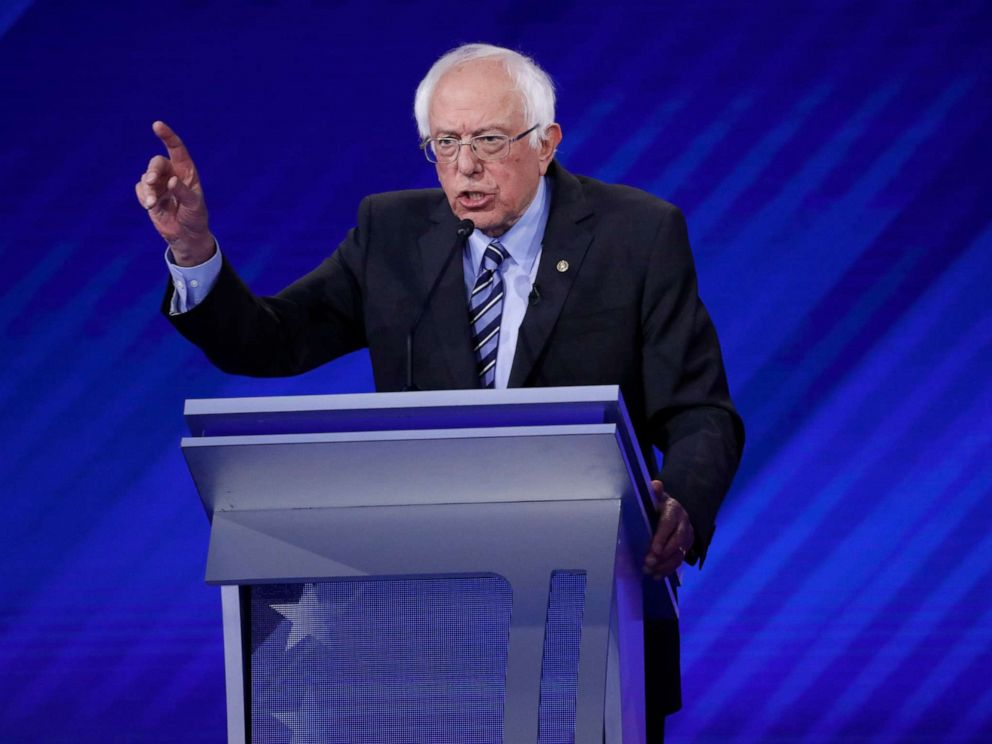 PHOTO: Democratic presidential candidate Sen. Bernie Sanders speaks during the third Democratic primary debate of the 2020 presidential campaign season in Houston, Texas, Sept. 12, 2019.