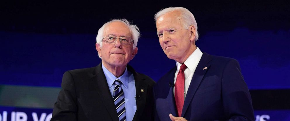 PHOTO: Democratic presidential hopefuls Vermont Senator Bernie Sanders and former Vice President Joe Biden shake hands ahead of the third Democratic primary debate at Texas Southern University in Houston, Sept. 12, 2019.