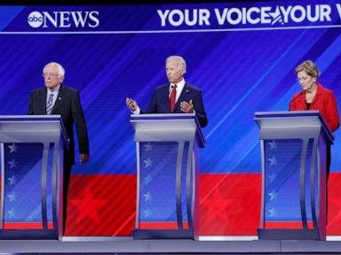 PHOTO: Democratic presidential candidates Benrie Sanders, Joe Biden and Elizabeth Warren take part in the a debate at Texas Southern University, Sept. 12, 2019, in Houston, Texas.