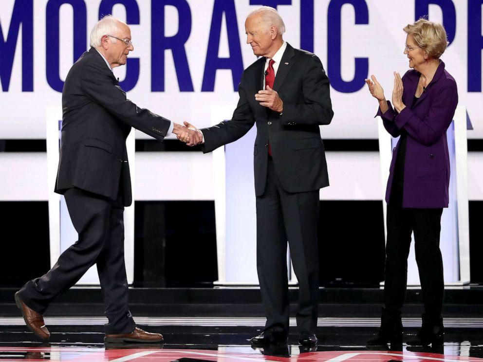 PHOTO: Sen. Bernie Sanders, former Vice President Joe Biden, and Sen. Elizabeth Warren enter the stage before the Democratic Presidential Debate at Otterbein University, Oct. 15, 2019, in Westerville, Ohio.