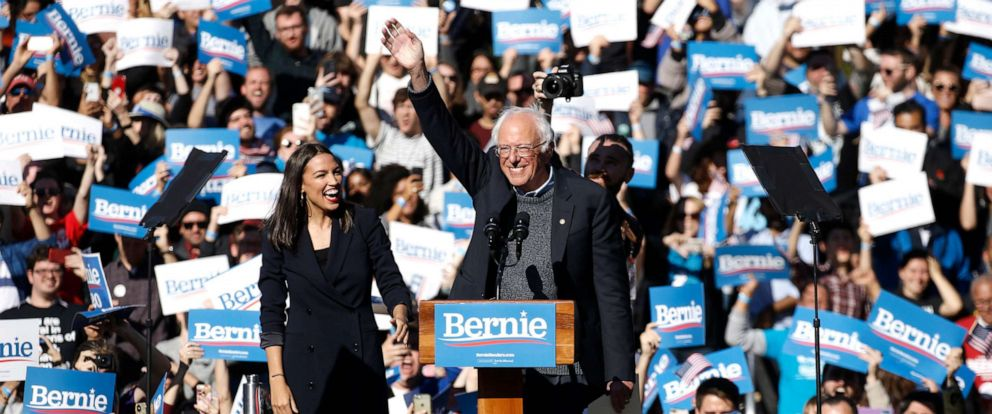 PHOTO: Presidential hopeful Bernie Sanders receives an endorsement from Senator Alexandria Ocasio-Cortez in Queens, New York on Oct. 19, 2019.