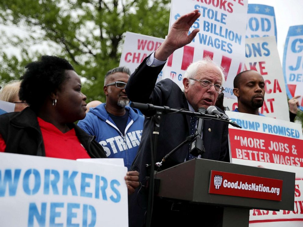 PHOTO: Sen. Bernie Sanders speaks during a rally in front of the Capitol, April 26, 2017, in Washington, DC. Activists and low-wage workers gathered on Capitol Hill to rally for a $15 minimum and rights to form unions.