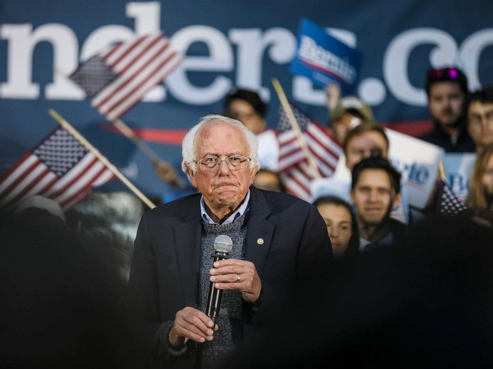 PHOTO: Democratic presidential candidate Sen. Bernie Sanders pauses while speaking at a campaign event, Sept. 29, 2019, in Hanover, N.H.