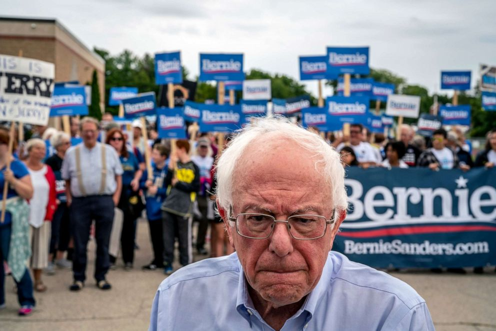 PHOTO: Sen. Bernie Sanders (I-Vt.), a candidate for the Democratic presidential nomination, campaigns in Milford, N.H., on Sept. 2, 2019.